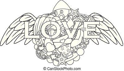 lettering, elementos, amor, anjo, mão, doodles, asas