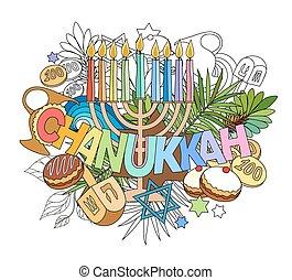 lettering, elementos, doodles, mão, hanukkah