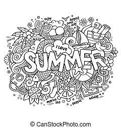 lettering, elementos, doodles, mão, verão