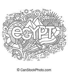 lettering, elementos, egito, mão, fundo, doodles