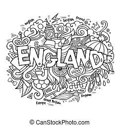 lettering, elementos, inglaterra, mão, fundo, doodles