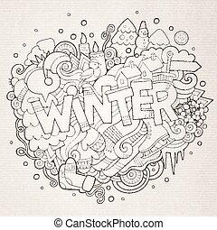 lettering, elementos, inverno, mão, fundo, doodles