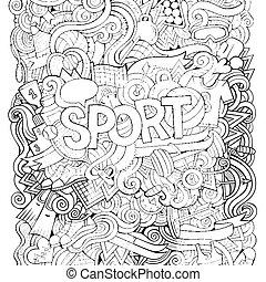 lettering, elementos, mão, experiência., doodles, desporto