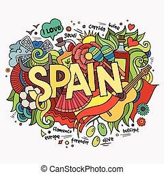 lettering, elementos, mão, fundo, doodles, espanha