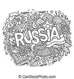 lettering, elementos, mão, fundo, doodles, rússia
