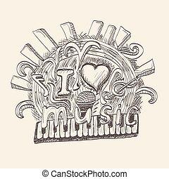 lettering, elementos, mão, música, fundo, doodles