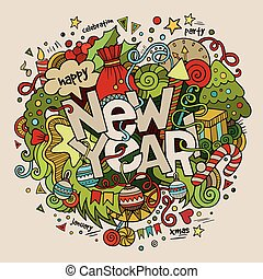 lettering, elementos, novo, mão, experiência., ano, doodles