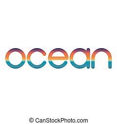lettering, emblema, verão, viagem, oceânicos, pôr do sol, amanhecer, ou, logotipo