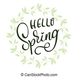 lettering, eps10, fundo, primavera, ilustração, vetorial, palavras, branca, caligrafia, olá, frame.
