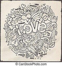 lettering, esboço, elementos, amor, mão, doodles