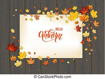 Lettering Fall leaves on background
