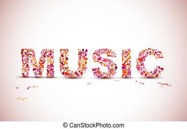 lettering, feito, notas, tema, vetorial, música, pretas