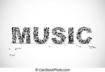 lettering, feito, notas, vetorial, pretas, música