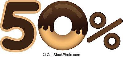 lettering, feito, price., forma, desconto, esmalte, cento, isolado, venda, donut, experiência., branca, alimento., 50