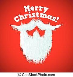 lettering, feliz, claus, cabelo, santa, natal, barba