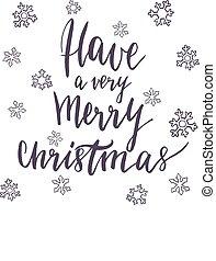 lettering, feliz, muito, texto, desenho, ter, natal