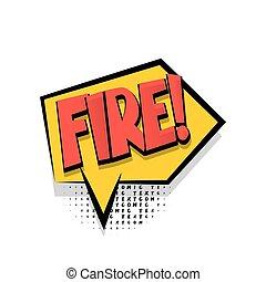 Lettering fire comic text speech bubble
