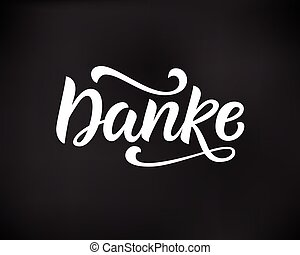 lettering, german., agradecer, mão escrita, tu