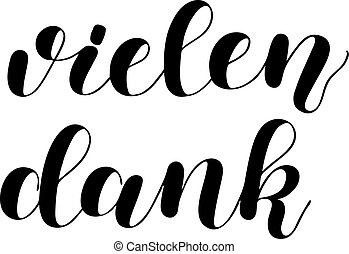 lettering, german., vielen, vrijstaand, hand, achtergrond., vector, dank, partij, getrokken, witte , dank.
