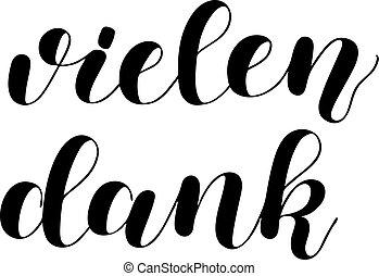 lettering, german., vielen, vrijstaand, hand, achtergrond.,...