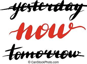 lettering, gisteren, inscriptie