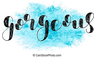 lettering, gorgeous., vetorial, escova, illustration.