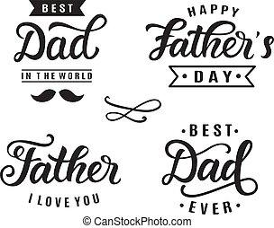lettering, groet, hand, de dag van de vader, kentekens, vrolijke