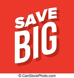 lettering, groot, vector, sparen