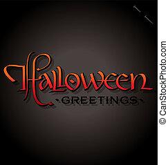 lettering, halloween, (vector), hand