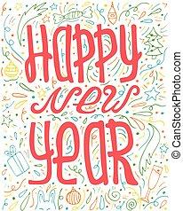 lettering, -, hand-drawn, year., nieuw, doodles, uniek, vrolijke