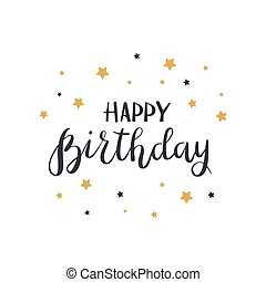 Lettering Happy Birthday with stars