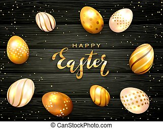 Lettering Happy Easter with Golden Eggs on Black Wooden Background