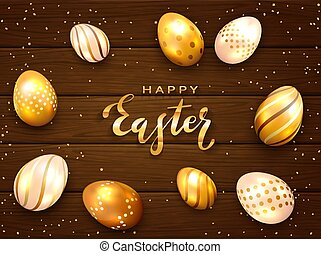 Lettering Happy Easter with Golden Eggs on Wooden Background