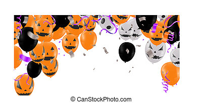 Lettering Happy Halloween . Design with balloons