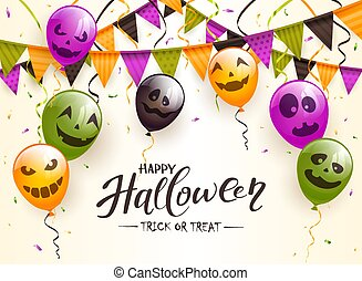 Lettering Happy Halloween with Balloons and Pennants