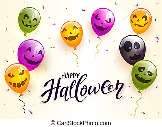 Lettering Happy Halloween with Scary Colored Balloons and Confetti