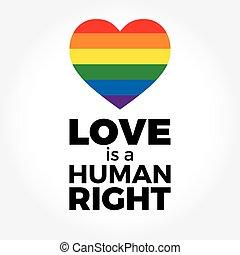 lettering, hart, regenboog, steun, iconen, symbool, lgbt, ...