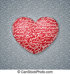 """Red Lettering Heart with the words """"Love"""" in different languages on seamless backround. Valentines Card."""