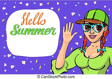 lettering Hello summer greeting card. girl waving welcome. girl in sunglasses. Happy child greeting. Cute cartoon laughing character in dress. Smiling woman. background Flat Vector illustration