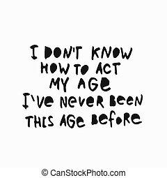 lettering, hemd, noteren, leeftijd, hoe, werken, mijn