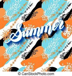 lettering, illustra, zomer, abstract, informatietechnologie, achtergrond., vector, tijd