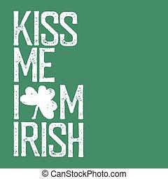lettering, illustration., mij, straat., kus, typografisch, irish., t-shirt, vector, ontwerp, heilige, ouderwetse , day., viering, patrick's, dag, design.