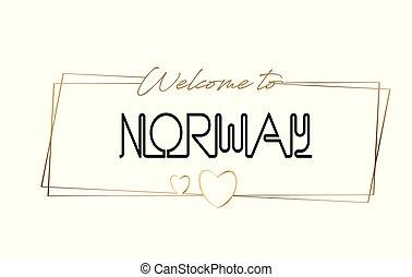 lettering, illustration., palavra, cartão postal, emblema, texto, logotype, bem-vindo, néon, typography., vetorial, ícone, bandeira, logotipo, noruega