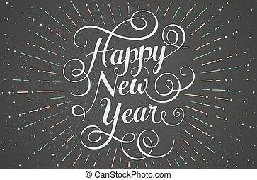 lettering, illustration., saudação, giz, experiência., vetorial, tábua, ano, novo, branca, cartão, feliz