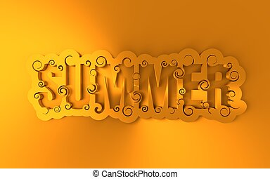 Lettering illustration with word summer.