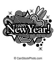 lettering, illustrator, text., tipografia, mão, year., vetorial, novo, doodles., feliz