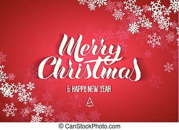 "Lettering in the popular style of ""Merry Christmas Happy New Year"". White paper letters with a shadow on a red background. snowflake frame on the corners"