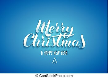 "Lettering in the popular style of ""Merry Christmas Happy New Year"". White paper letters with a shadow on a blue background"