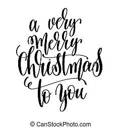 lettering, inscrição, muito, mão, feliz, tu, natal