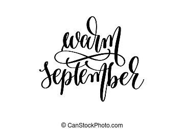 lettering, inscrição, setembro, -, mão escrita, morno